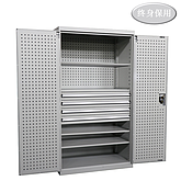 Raxwell 灰色双开门带挂板置物柜(三层板四抽),尺寸(长*宽*高mm):1000*600*1800